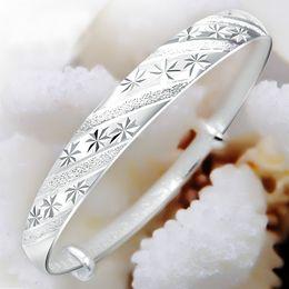 Korean fashion silver jewelry meteor shower sliding ring 999 female models fine silver bracelet Valentine's Day gift to send his girlfriend