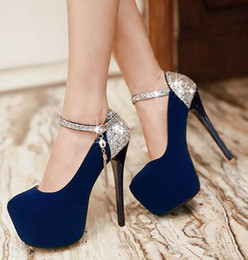 Plus size sexy stiletto heel sequins shoes red blue wedding shoes high platform dance shoes 3 colors size 34 to 40 41 42