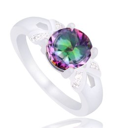 Promotion Cheap!!! Charming 1pc 925 Sterling Silver Fine Jewelry Multi-colored CZ Fantastic For Woman's Ring Size 7-9