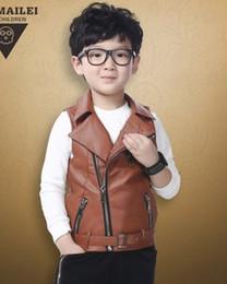 Wholesale Korean Waistcoats Boys - 2015 New Children Boys Korean Style Autumn Turn-down Collar PU Leather Waistcoat Kids Fashion Waistcoat B3722