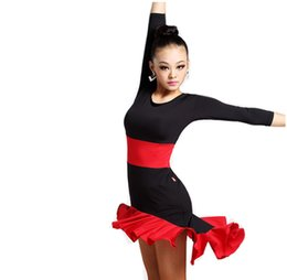 Free shipping Women Latin Dance Skirt New Style Square Dance Practice Dress Adult Long Sleeve Performance Costume