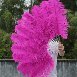 single layer Hot Pink Ostrich Feather Fan Marabou Feather Fan Burlesque friend 25 inch by 45 inch Chinese Feather Fans Large Feather Fans