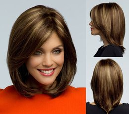 hair products: Medium length Straight Brown Bob wig for women Synthetic wigs with bangs Free shipping False hair SW0010