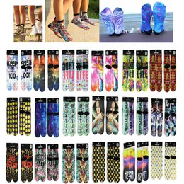 Wholesale Free DHL Basketball kneepads Sports Socks Big Kids Men s D Printed Stock New Pattern Hip Hop Cotton Sock Unisex Galaxy Emoji pairs