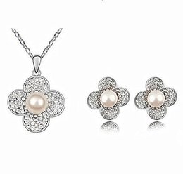 Rhodium Silver Plated CZ Crystal Diamante Grey Pearl Center Flower Necklace and Stud Earrings Jewelry Sets