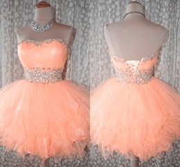 Sexy 2014 Short Prom Dress Crystal Sweet Strapless Ball Gown Lace Up in Back Beaded Sash Cheap Prom Gown Size 2 4 6 8 10 12 14 16 16+