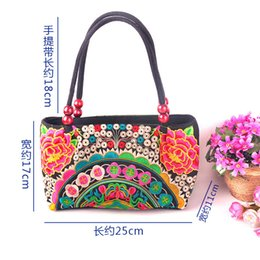 Wholesale Chinese DIY fashionale national style Embroidery Style Women s Canvas or Cotton Handbag with peony and other flowers patterns l