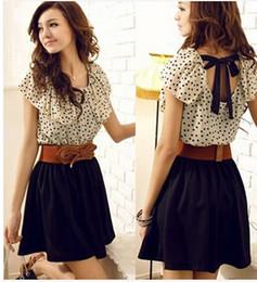 Wholesale-New Women Fashion Retro Polka Dot Chiffon Splicing Sleeveless Dresses Summer Style S M L Size Free shipping