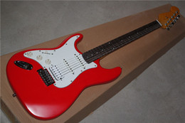 Left-handed Electric Guitar with Red Body and White Pickguard,Vintage Yelloe Neck and Can be Changed as Request