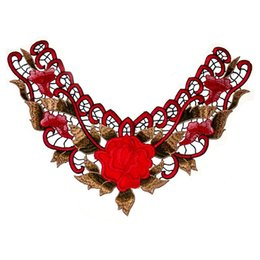 Hot Sales 3D Stereoscopic Embroidered Collar Flower Lace Appliques Lace Trim Neckline Applique Garment Accessories YR0018 smileseller
