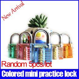 Wholesale New arrival random mini colored pick transparent practice lock for gift padlock Luggage locks Process lock