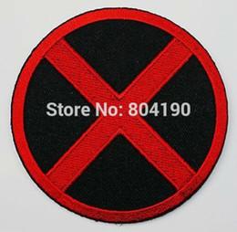 Wholesale 3 quot X MEN X men Red Black Uniform Animate Film Movie TV Embroidered LOGO Iron On Patch Goth Punk Rockabilly