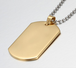 High Grade Never Fade Gold Plated 316L Stainless Steel 40mm*20mm Army Dog Tag Pendant Necklace Unisex Fashion Classical Hobby Gifts