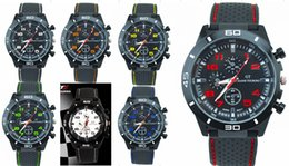 Wholesale Mix Colors Men Causal SPORT Military Pilot Aviator Army Silicone Racer Watch GT Silicone Wtistband RW004