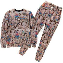 [Mikeal] Newest Miley Cyrus joggers and sweatshirt set women men 3d sweatshirts hoodies + sweatpant streetwear Tracksuits Z14