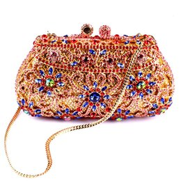 Wholesale 2015 Newest Shoulder Chains Evening bag Women Bags Minaudiere Clutches diamond Shiny Crystal Day Clutch Purse for Wedding Prom Party Banquet