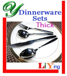 Wholesale stainless dinnerware sets knife spoon fork set pc quality silver flatware table spoon durable handle hotel restaurant supplies cutlery