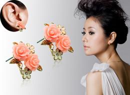 Wholesale Brand New Fashion Stud Earrings Charms Pink Resin Rhinestone Flower Earrings For Women Luxury Jewelry