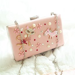 Wholesale Pink Fox and Horse Bridal Hand Bags Night Club Party Clutch Evening Bags Handbags Bridal Accessories Fashion Bags Ladies Hard Case Bag