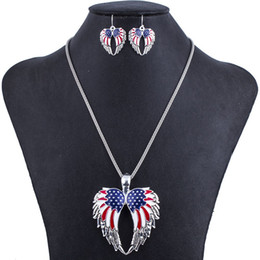 Wholesale MS1504294Fashion Jewelry Sets Hight Quality Necklace Sets For Women Jewelry Multicolor USA Flag Unique Wing Design Party Gift