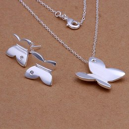 High grade 925 sterling silver Smooth two-piece butterfly jewelry sets DFMSS349 brand new Factory direct sale 925 silver necklace earring