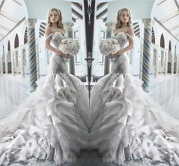 Pnina Tornai 2019 Rhinestone Mermaid Wedding Dresses with Sweetheart Off the Shouler Backless Crystal Tulle Luxury Bridal Gowns Hot