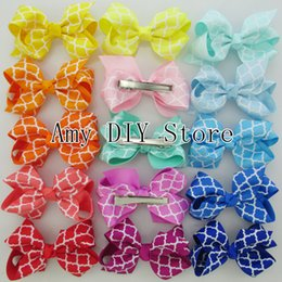 Wholesale NEW Quatrefoil grosgrain Ribbon Boutique baby girls pin wheel hair bows WITH clips baby girls hair accessories HJ040 cm