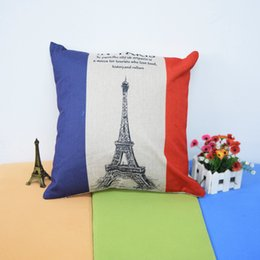 Wholesale France Flag Eiffel Tower Cotton Linen Throw Lumbar car Pillow Case Cushion Cover sofa pillowcase