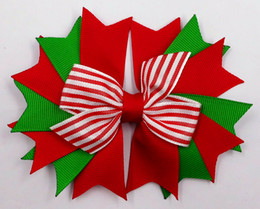 "4.5"" Christmas Layer spike Red White striped Hair Bow headwear headdress Holiday clip 24pcs"