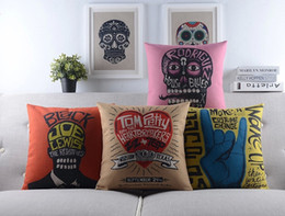British Rock Roll Style Cushion Cover Creative English Letters Skull Palm Heart Joe Lewis Tom Petty Pillow Case Linen Cotton Cushions Covers