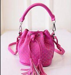Wholesale Punk Drawstring Bag For Women Tassels Style colors new arrival Size W18 H14 D7cm B4