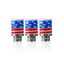 Wholesale E cigarette Ceramic Drip Tips with American Flag style Wide Bore Drip Tip EGO Mouthpiece for Threading DCT Protank Arctic Atomizer