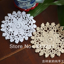 Wholesale pic cm round snowflake decoration fabric felt lace doilies dining table pot holder as novelty household