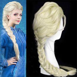 Children Adult Princess Frozen Wigs Snow Queen Elsa Weaving Braid Light Blonde Cosplay Wig Snow Queen Gold Long wigs Christmas Gift 30set