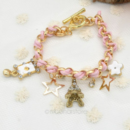 Fashion Sweet Poker Tower Stars Rhinestone Braided Charm Bracelet, Pearl Bracelets Pendant Hand Chain Jewelry Y60*MPJ161#M5