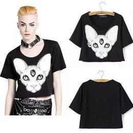 Wholesale Harajuku summer new arrival women tops punk sphynx cat printed tees canadian hairless cat element printed crop tops