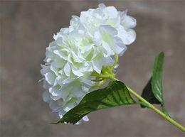 "Silk Single Stem Hydrangea 76cm 29.92"" Length Artificial Flowers European Hydrangea Large Flower Head for Wedding Centerpiece 6 Colors"
