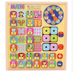 Funny topping-on game Educational wooden toy learning math matching color shape game wood block Geometric Stacking Shape match clock animal