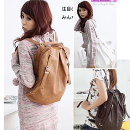 Fashion Korean Style Girls' PU Leather Backpack Schoolbag Shoulders Bag Camel   Coffee   White