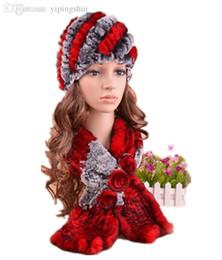 Descuento mejores bufandas de moda Bufanda caliente del invierno del otoño de la manera del casquillo de la piel del conejo del rex del precio al por mayor-H304-Best, 3 colores hecho a mano de la piel hecha punto sombrero de la bufanda