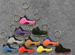 Wholesale Nike Air Foamposite Fashion Basketball Shoes Key Chain Rings Charm Sneakers Keyrings Keychains Hanging Accessories