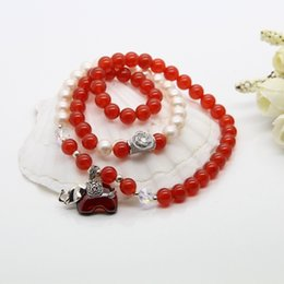 Wholesale Ice AAA red agate Pearl Crystal Bracelet Red Silver Bracelets Ms Yu Tai just micro channel marketing