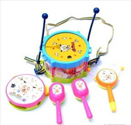 Wholesale Kids Toy Gift Set Roll toy Beaming with ash too wolf Drum Musical Instruments Band Kit