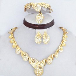 Clear Crystal Diamante Gold Filled African Women Costume Jewelry Sets Elegant Bridal Jewelry Necklace Earrings Bracelet Ring 784