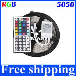 5M SMD 5050 RGB LED Strip Light 5050 Waterproof 110V 220V To 12V 300 LEDS 60leds m Flexible Strip With 44Keys Remote Controller