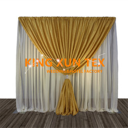 3M*3M White Wedding Backdrop Curtain With Gold Or Black Swag Drape Free Shipping