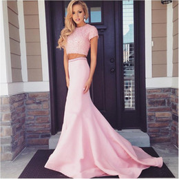 Short Sleeve Pink Pearl Two Piece Prom Dresses 2015 Floor Length Modest Long Prom dresses party evening
