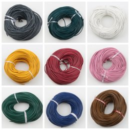 Wholesale MIC New Colors mm Round Oxhide Real Leather Thong Gorgeous Bracelet Necklace Cords Wire Jewelry DIY String