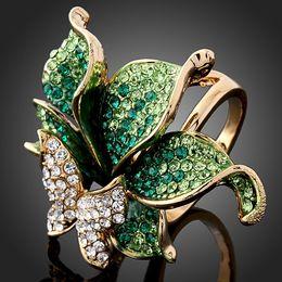 Wholesale 4 couleurs Emerald Green imitation diamant bague papillon Dragonfly Fashion anneaux pour les femmes rouge violet or dragon DFDR0051