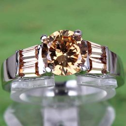 Wholesale 2015 Champagne Solitaire Rings Cheap In Stock Round Cut Morganite Gemstone K Platinum Plated Women Ring Size A0061